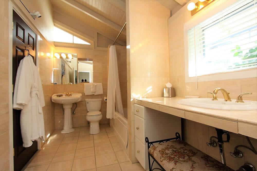marble bathroom with sink, toilet and shower