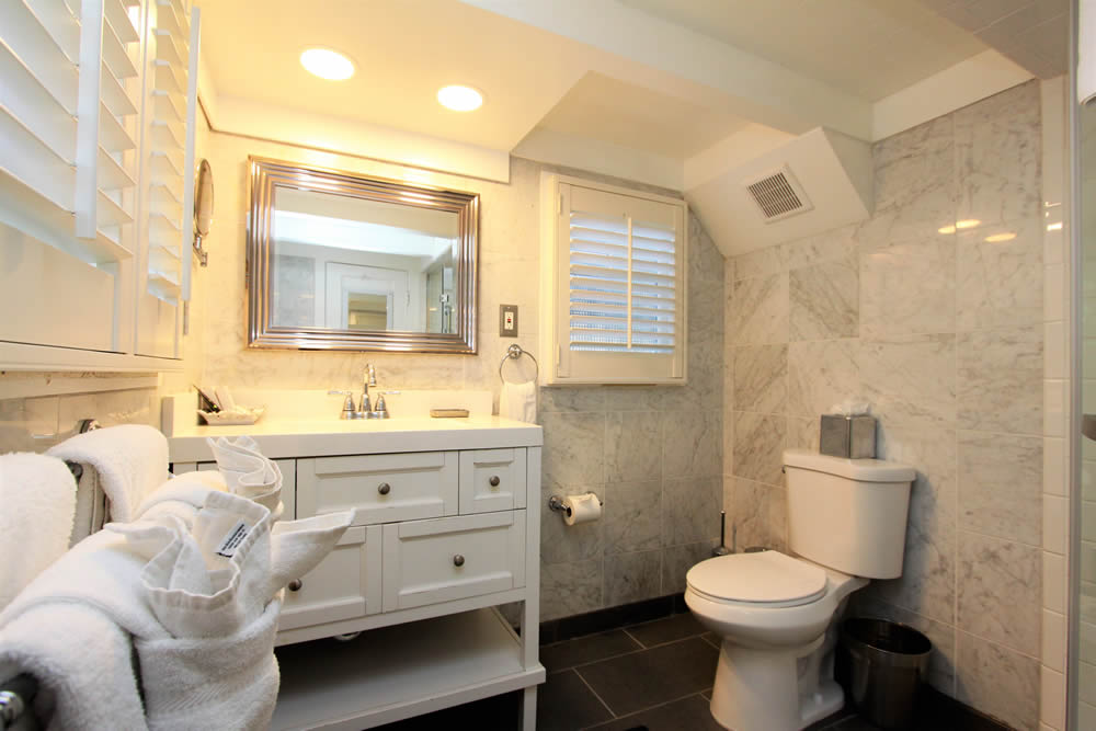 marble bathroom with sink and shower
